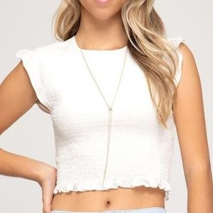 She & Sky smocked crop top